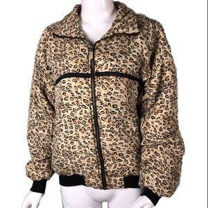 Vintage CoAco Silk Leopard Print Bomber Jacket